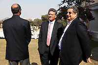 Nik Senapati (Rio Tinto Managing Director) (center) speaks to two unidentified attendees during lunch after a press conference on Oz Fest in Raj Mahal Palace hotel, Jaipur, India on 10th January 2013. Photo by Suzanne Lee/DFAT