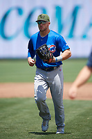Iowa Cubs left fielder Mark Zagunis (6) jogs to the dugout during a game against the Memphis Redbirds on May 29, 2017 at AutoZone Park in Memphis, Tennessee.  Memphis defeated Iowa 6-5.  (Mike Janes/Four Seam Images)