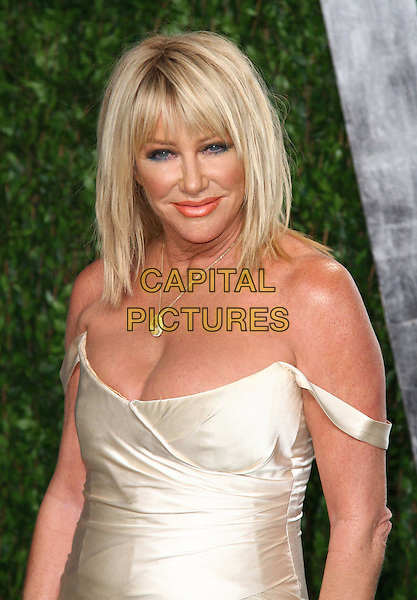 Suzanne Somers.2012 Vanity Fair Oscar Party held at the Sunset Tower West Hollywood, California, USA..26 February 2012.oscars half length white off the shoulder dress.CAP/ADM/FS.©Faye Sadou/AdMedia/Capital Pictures.