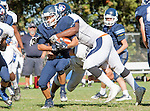 Palos Verdes, CA 09/24/16 - Zach Goodman (Chadwick #22),Elijah Brown (Rolling Hills #70)  in action during the non-conference CIF 8-Man Football  game between Rolling Hills Prep and Chadwick at Chadwick.