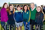 Niamh Cronin, Ciara Brosnan, Darragh Fitzgerald, Margaret Fitzgerald, Joan Cronin and Chloe Fitzgerald, all from Gneeveguilla, enjoying the Kerry Minor home coming at Kilcummin GAA pitch on Monday night last.