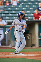 Jesus Sanchez (3) of the New Orleans Baby Cakes at bat against the Salt Lake Bees at Smith's Ballpark on August 4, 2019 in Salt Lake City, Utah. The Baby Cakes defeated the Bees 8-2. (Stephen Smith/Four Seam Images)