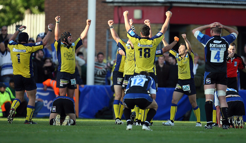 Photo: Rich Eaton...Bath Rugby v Clermont Auvergne. European Challenge Cup Final. 19/05/2007. Clermont players celebrate victory over Bath at the final whistle.