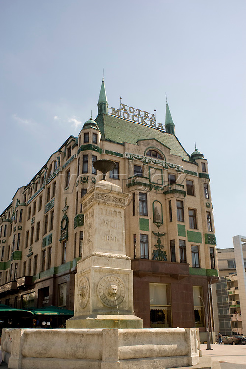 The art deco exterior of the Hotel Moskva, Belgrade, Serbia, Europe
