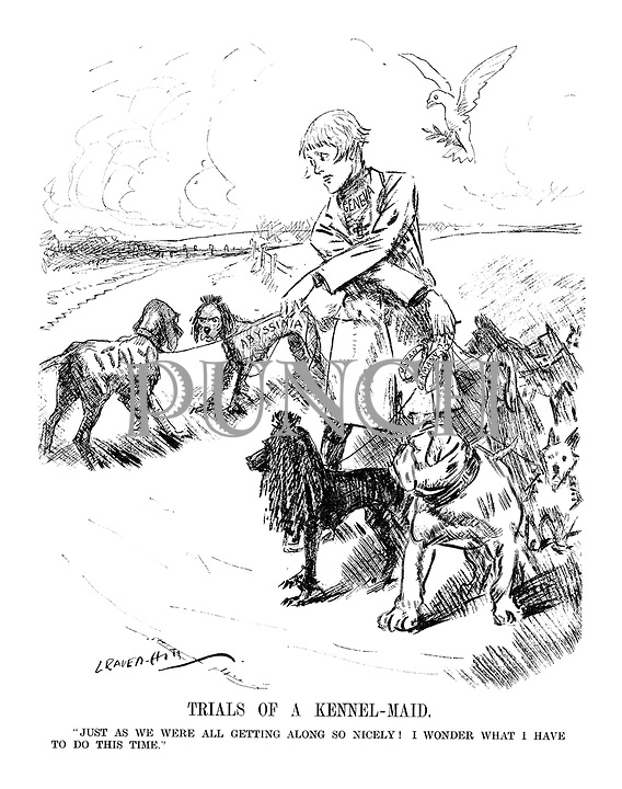 """TRIALS OF A KENNEL - MAID. """"Just as we were getting along so nicely! I wonder what I have to do this time."""" (an InterWar cartoon shows Geneva taking her European dogs for a walk as Italy breaks off from the peaceful dogs including France and Britain to attack Abyssinia while Japan and Germany have escaped their collars)"""