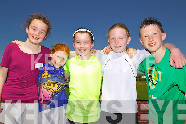 Pupils from Caherdaniel N.S. pictured at the County Primary School Athletics event on Saturday in Castleisland, from left: Abby O?Sullivan, Orla Fayen, Marie O?Sullivan, Si?ofra O?Se? and Iarla O?Se?..