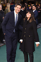 "LONDON, UK. April 29, 2019: Chris Thykier & wife, Claudia Winkleman arriving for the ""TOLKIEN"" premiere at the Curzon Mayfair, London.<br /> Picture: Steve Vas/Featureflash"