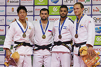 Gold medalist Alan Khubetsov (2nd L) of Russia, silver medalist Kenya Kohara (L) of Japan with bronze medalists Robin Pacek of Sweden and Sagi Muki of Israel celebrate their victory during an awards ceremony after the Men -81 kg category at the Judo Grand Prix Budapest 2018 international judo tournament held in Budapest, Hungary on Aug. 11, 2018. ATTILA VOLGYI