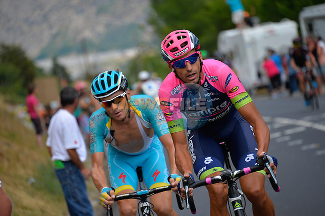 Andriy GRIVKO (UKR) Astana and Ruben PLAZA MOLINA (ESP) Lampre-Merida out front during Stage 20 of the 2015 Tour de France running 110.5km from Modane Valfrejus to Alpe d'Huez, France. 25th July 2015.<br /> Photo: ASO/B.Bade/Newsfile