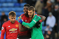 Paul Pogba of Manchester United and David De Gea of Manchester United embrace embrace each other after the Premier League match between Leicester City and Manchester United at King Power Stadium on February 3rd 2019 in Leicester, England. (Photo by Leila Coker/phcimages.com)<br /> Foto PHC Images / Insidefoto <br /> ITALY ONLY