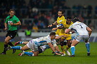 24th November 2019; AJ Bell Stadium, Salford, Lancashire, England; European Champions Cup Rugby, Sale Sharks versus La Rochelle; Kini Murimurivalu of La Rochelle is tackled by Ross Harrison of Sale Sharks - Editorial Use