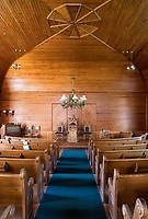 Interior of Union Christian Church located within the Calvin Coolidge Homestead District, Plymouth Notch, Vermont, USA.