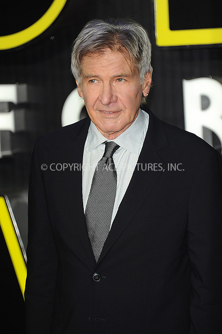 WWW.ACEPIXS.COM<br /> <br /> December 16 2015, London<br /> <br /> Harrison Ford arriving at the European Premiere of 'Star Wars: The Force Awakens' in Leicester Square on December 16, 2015 in London, England.<br /> <br /> By Line: Famous/ACE Pictures<br /> <br /> <br /> ACE Pictures, Inc.<br /> tel: 646 769 0430<br /> Email: info@acepixs.com<br /> www.acepixs.com