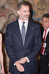 King Felipe VI of Spain during the reception in honor of his majesties the Kings of Spain offered by his excellencies the president of the Argentine Republic at El Pardo Palace in Madrid, Spain. February 23, 2017. (ALTERPHOTOS/BorjaB.Hojas)