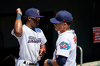 Jacksonville Jumbo Shrimp Anfernee Seymour (9) and Bryson Brigman (5) before a Southern League game against the Tennessee Smokies on April 29, 2019 at Baseball Grounds of Jacksonville in Jacksonville, Florida.  Tennessee defeated Jacksonville 4-1.  (Mike Janes/Four Seam Images)