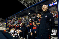USMNT head coach Bob Bradley watches his team take the field before an international friendly at PPL Park in Chester, PA.  The U.S. tied Columbia, 0-0.