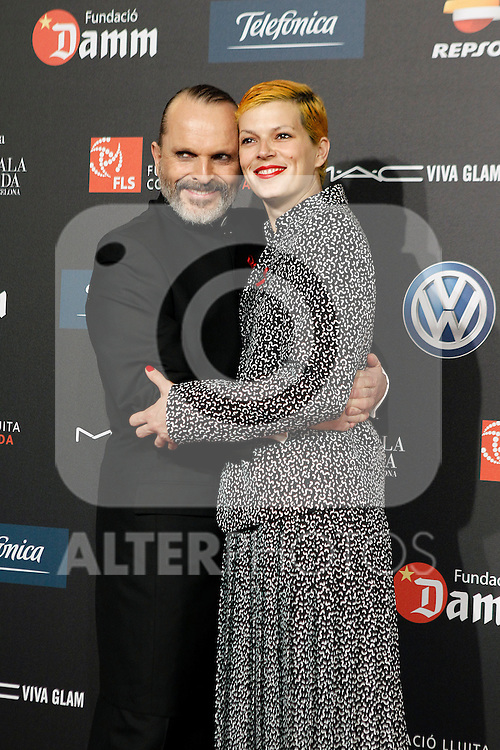 Spanish model Bimba Bose with her uncle and singer Miguel Bose during Barcelona 5th AIDS Ceremony. November 24,2014.(ALTERPHOTOS/Acero)