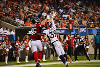 Canton, Ohio - August 1, 2019: Atlanta Falcons tight end Eric Saubert #85 misses a catch broken up by Denver Broncos cornerback Trey Johnson #39 during a pre-season game at the Tom Benson Hall of Fame stadium in Canton, Ohio August 1, 2019. This game marks start of the 100th season of the NFL. (Photo by Don Baxter/Media Images International)