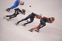 OLYMPIC GAMES: PYEONGCHANG: 17-02-2018, Gangneung Ice Arena, Short Track, Quarterfinals 1000m Men, Samuel Girard (CAN), Kazuki Yoshinaga (JPN), Itzhak de Laat (NED), ©photo Martin de Jong