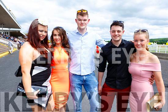 Enjoying the sunshine at the Listowel Races on Sunday. <br /> L-r, Denise Buckley (Asdee), Breda Horgan (Ballybunion), Nicholas Tarrant (Lisselton), Packie Allan (Ballybunion) and Sarah Casey (Ballyduff).