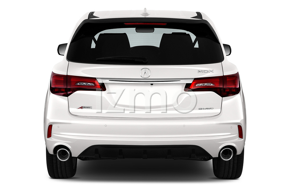 Straight rear view of 2019 Acura MDX A-Spec 5 Door SUV Rear View  stock images