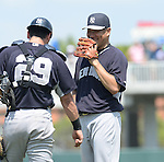 Masahiro Tanaka, Francisco Cervelli  (Yankees),<br /> MARCH 22, 2014 - MLB : Pitcher Masahiro Tanaka (R) and catcer Francisco Cervelli (29) of the New York Yankees during a spring training baseball game against the Minnesota Twins at Hammond Stadium in Fort Myers, Florida, USA.<br /> (Photo by AFLO)