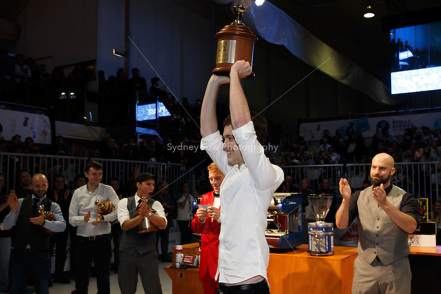 MELBOURNE, 26 MAY - Matthew Perger from Australia celebrates coming 2nd in the 2013 World Barista Championship held at the Melbourne Show Grounds in Melbourne, Australia. Photo Sydney Low / syd-low.com