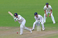 Daniel Lawrence in batting action for Essex as Mark Wallace looks on from behind the stumps during Glamorgan CCC vs Essex CCC, Specsavers County Championship Division 2 Cricket at the SSE SWALEC Stadium on 23rd May 2016