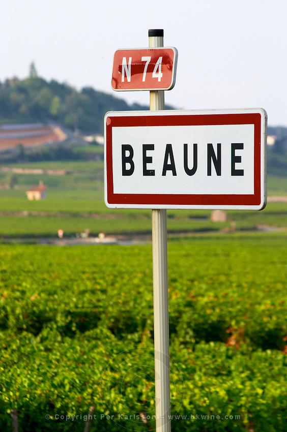 road sign vineyard beaune cote de beaune burgundy france