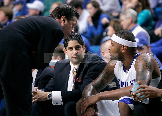 Head coach John Calipari scolds DeMarcus Cousins after a technical foul was called on him during the second half of the game against Vanderbilt at Rupp Arena on Saturday. Photo by Zach Brake | Staff.