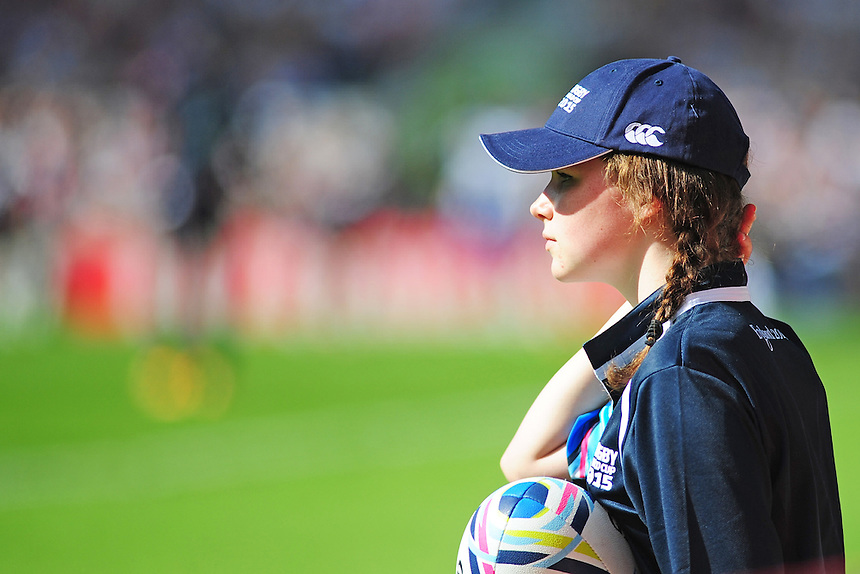 A ball girl watches on during todays match<br /> <br /> Photographer Kevin Barnes/CameraSport<br /> <br /> Rugby Union - 2015 Rugby World Cup - Samoa v USA - Sunday 20th September 2015 - Brighton Community Stadium - Falmer - Brighton<br /> <br /> &copy; CameraSport - 43 Linden Ave. Countesthorpe. Leicester. England. LE8 5PG - Tel: +44 (0) 116 277 4147 - admin@camerasport.com - www.camerasport.com