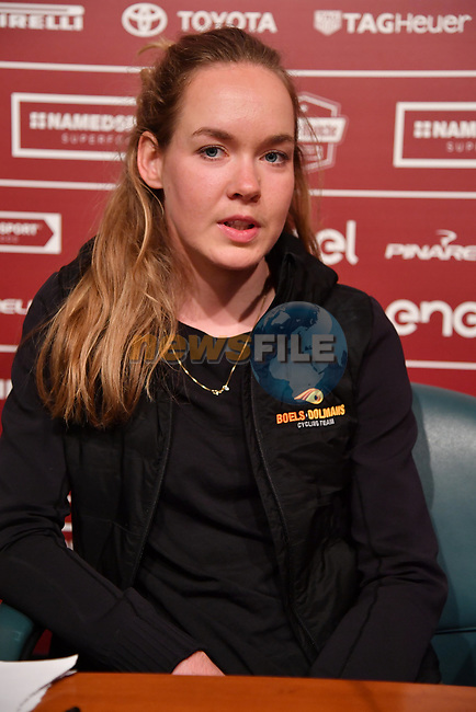 Last year's winner World Champion Anna Van der Breggen (NED) Boels Dolmans press conference ahead of the 2019 Strade Bianche Women Elite running 184km from Siena to Siena, held over the white gravel roads of Tuscany, Italy. 8th March 2019.<br /> Picture: LaPresse/Gian Mattia D'Alberto | Cyclefile<br /> <br /> <br /> All photos usage must carry mandatory copyright credit (© Cyclefile | LaPresse/Gian Mattia D'Alberto)