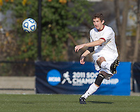 Boston College defender Ryan Dunn (3) passes the ball.  Rutgers University defeated Boston College in penalty kicks after two overtime periods in NCAA Division I tournament action, at Newton Campus Field, November 20, 2011.