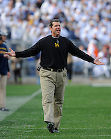 21 November 2015:  Michigan head coach Jim Harbaugh reacts to a call. The Michigan Wolverines defeated the Penn State Nittany Lions 28-16 at Beaver Stadium in State College, PA. (Photo by Randy Litzinger/Icon Sportswire)