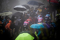 Maglia Rosa / overall leader Richard Carapaz (ECU/Movistar) up the extremely wet, cold & misty Cole di Mortirolo <br /> <br /> Stage 16: Lovere to Ponte di Legno (194km)<br /> 102nd Giro d'Italia 2019<br /> <br /> ©kramon