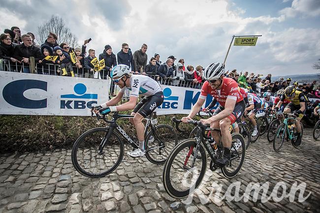 Luke Rowe (GBR/Team Sky) and John Degenkolb (GER/Trek Segafredo) up the cobbles of the  Koppenberg. <br /> <br /> 102nd Ronde van Vlaanderen 2018<br /> 1day race: Antwerp › Oudenaarde - BEL (265k)
