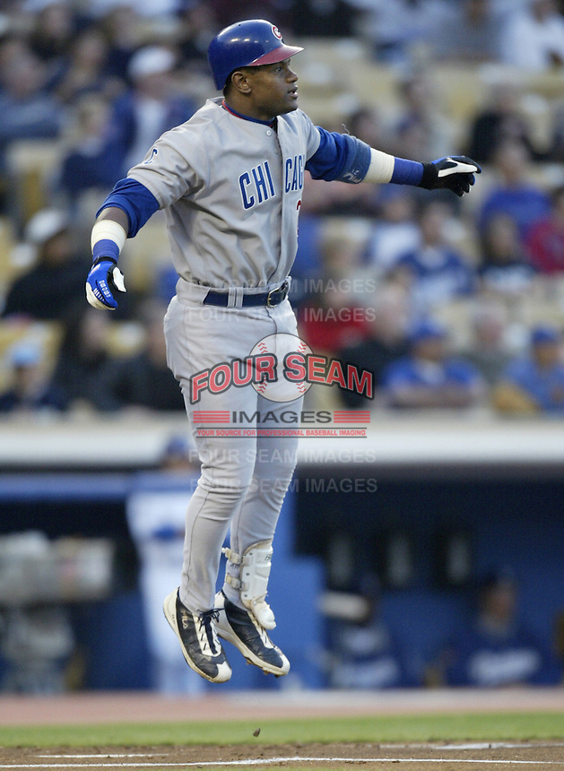 Sammy Sosa of the Chicago Cubs bats during a 2002 MLB season game against the Los Angeles Dodgers at Dodger Stadium, in Los Angeles, California. (Larry Goren/Four Seam Images)