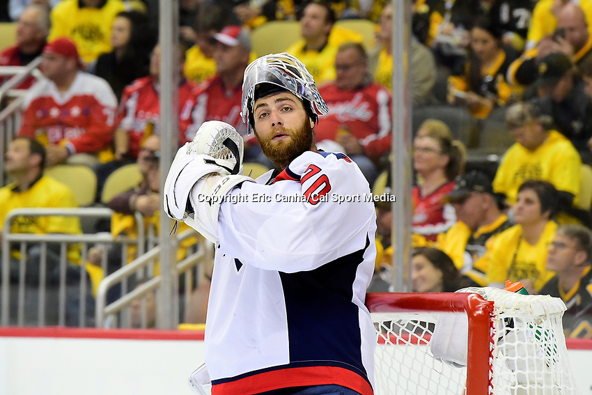 May 8, 2017: Washington Capitals goalie Braden Holtby (70) waits for game action to resume at game 6 of the second round of the National Hockey League Eastern Conference Stanley Cup Playoffs between the Washington Capitals and the Pittsburgh Penguins, held at PPG Paints Arena, in Pittsburgh, PA. Washington defeats Pittsburgh 5-2 to tie the best of seven series 3-3. Eric Canha/CSM