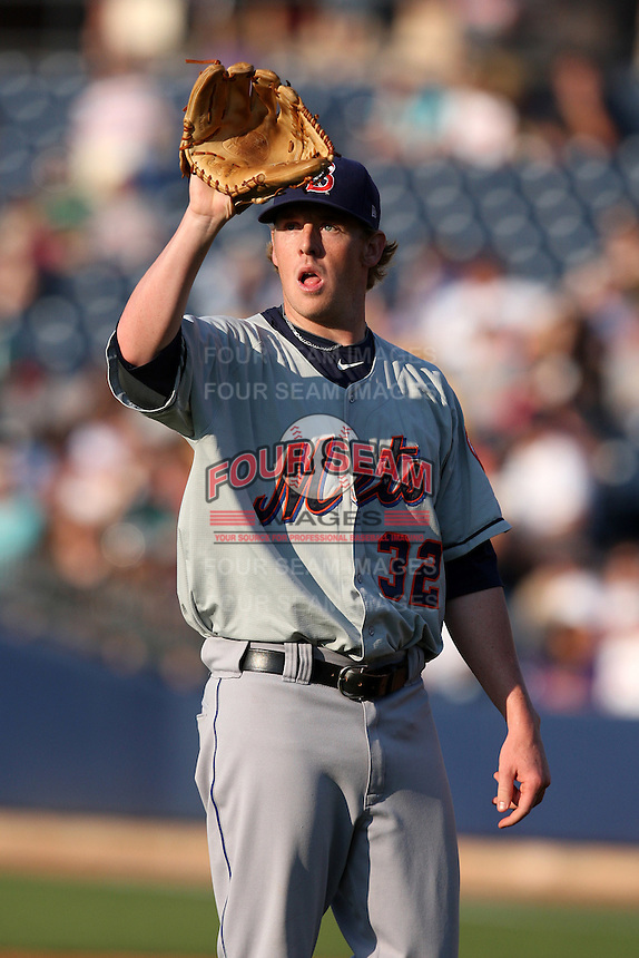 Binghamton Mets Starting Pitcher Michael Antonini (32) during a game vs. the Akron Aeros at Eastwood Field in Akron, Ohio;  June 25, 2010.   Binghamton defeated Akron 5-3.  Photo By Mike Janes/Four Seam Images