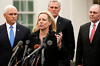 United States Secretary of Homeland Security (DHS) Kirstjen Nielsen briefs reporters following a meeting with the president and congressional leaders on the government shutdown, at the White House, in Washington, D.C., January 9, 2019. Behind Nielsen are from left to right: US Vice President Mike Pence, US House Minority Leader Kevin McCarthy (Republican of California), and US House Minority Whip Steve Scalise (Republican of Louisiana).<br /> Credit: Martin H. Simon / CNP /MediaPunch