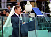 United States President George H.W. Bush delivers his Inaugural Address after being sworn-in as 41st President of the United States at the US Capitol on January 20, 1989. <br /> Credit: Todd S. Sachs / CNP