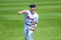 Cedar Rapids Kernels outfielder Jacob Pearson (43) warms up in the outfield prior to a Midwest League game against the Clinton LumberKings on May 28, 2018 at Perfect Game Field at Veterans Memorial Stadium in Cedar Rapids, Iowa. Clinton defeated Cedar Rapids 4-3. (Brad Krause/Four Seam Images)