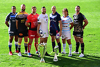 (L-R) Mathieu Babillot of Castres, James Eaton of La Rochelle, Duane Vermeulen of Toulon, Damien Chouly of Clermont, Sergio Parisse of Stade Francais Paris, Dimitri Szarzewski of Racing 92, Louis Picamoles of Montpellier during the European Rugby Champions Cup and Challenge Cup 2017/2018 season launch for Top14 clubs on October 4, 2017 in Paris, France. (Photo by Dave Winter/Icon Sport)