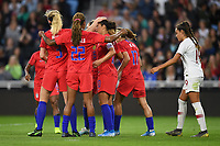 Saint Paul, MN - SEPTEMBER 03: The USWNT celebrate a Carli Lloyd goal during their 2019 Victory Tour match versus Portugal at Allianz Field, on September 03, 2019 in Saint Paul, Minnesota.