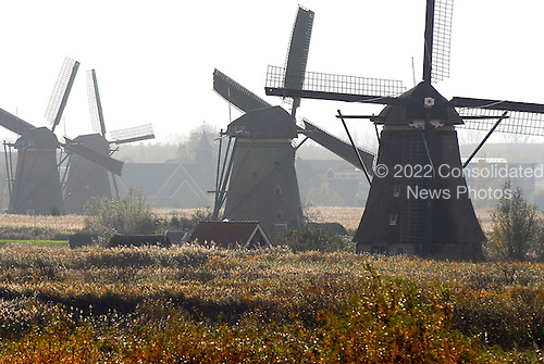 Rotterdam, Netherlands - November 6, 2007 -- 4 windmills on a farm along the Rhine River in the Netherlands between Rotterdam and Schoonhoven during the early afternoon on Monday, November 5, 2007..Credit: Ron Sachs / CNP