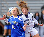 (Brockton MA 11/14/15) Dover-Sherborn 2, Rachel Shone and Medway 6, Deanna D'Innocenzo,go up for the header during  the division three south girls soccer final, Saturday, November 14, 2015, at Brockton High School. Herald Photo by Jim Michaud