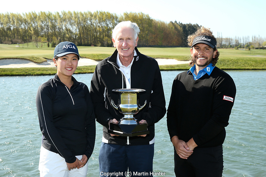 Mary Chen, Sir Bob Charles and Luke Toomey. Jennian Homes Charles Tour, Pegasus Open, Christchurch .New Zealand, Sunday 6 October 2019. Photo Martin Hunter/www.bwmedia.co.nz