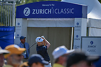 Russell Knox (IRL) watches his tee shot on 1 during Round 3 of the Zurich Classic of New Orl, TPC Louisiana, Avondale, Louisiana, USA. 4/28/2018.<br /> Picture: Golffile | Ken Murray<br /> <br /> <br /> All photo usage must carry mandatory copyright credit (&copy; Golffile | Ken Murray)