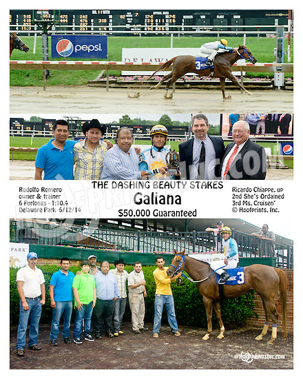 Galiana winning The Dashing Beauty Stakes at Delaware Park racetrack on 6/12/14