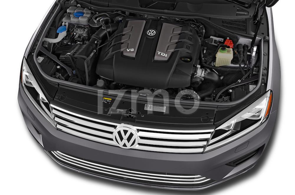 Car Stock 2015 Volkswagen Touareg Executive 5 Door Sport Utility Vehicle Engine high angle detail view